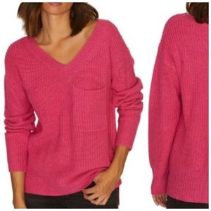 Sanctuary Knit Pink Sweater V-neck Pocket XS - S